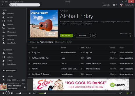 Apple Vacations Spotify
