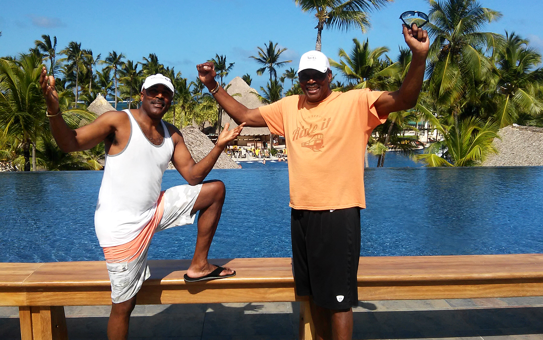 Mike Quick (#82) & Harold Carmichael (#17) at Barcelo Bavaro Palace Punta Cana.