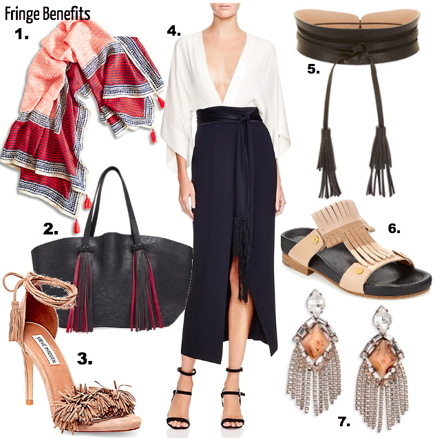 The fringe was in from 70's style to boho chic so don't yet retire this style. 2016 is packing more fringe from velvet to suede in coats, dresses down to the bags and shoes! It's the simple details that sometimes add the biggest flair.