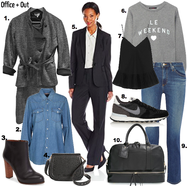 Suits and Sets-Oh My! A lightweight way to tiptoe into trendy this year is with this androgynous and versatile street style. Plus, the layer and switch options while packing and prepping multiple looks make this easy breezy -- your complete packing map from the office to the airport and back to the office by Monday! Pair the blazer with jeans/skirt/dress, the slacks with a tank and flats to dress up and down you any suit set.