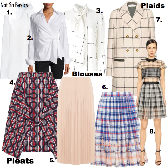 Last year, we saw a lot of monochromatic looks (think 50 shades of gray tones), mixed prints and sharp silhouettes. This year, you can roll up your sleeves and redux with the best of the white (shirt/blouse), extend and expand with plaid and tighten your waistline with a knife pleat for basic added detail for mix and match, easy pack.