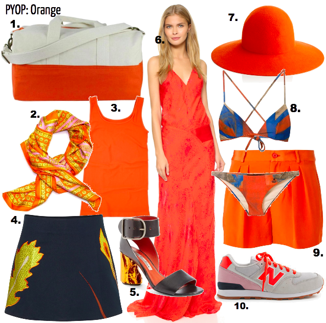 Every summer and/or vacation time, we countdown to the reveal: which bright colors and pieces we'll pack to match. For the weekender traveler, bringing a handful of items is all we have to work with so why not pack the pop. This year's color is ORANGE ! Mix in with florals, denim and sneakers for easy matching.